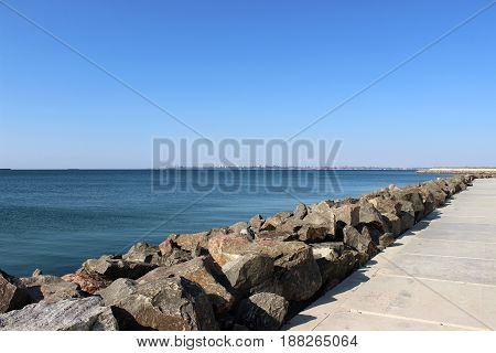 Beautiful morning seascape. Sea coast. Square composition