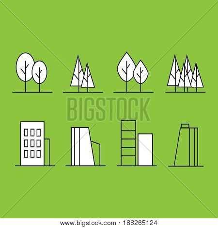 Government building icon set. Vector buildings like university