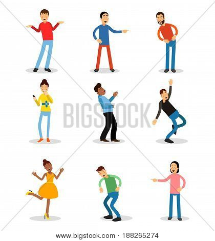 Young men and women having fun and smiling set. Happy people vector illustrations isolated on a white background