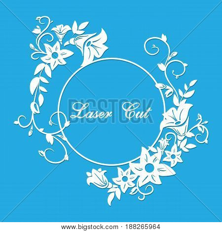 Vector laser cut with floral ornament with format eps10.