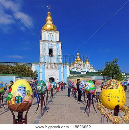 KYIV, UKRAINE - MAY 01, 2017: Painted eggs. Street festival of large Easter eggs on Mikhailovska Square near Mikhailovsky cathedral