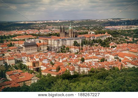 Aerial view on Prague Castle and Saint Vitus Cathedral Czech Republic. Panoramic view