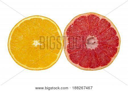 orange and grapefruit isolated on white background. Healthy food.