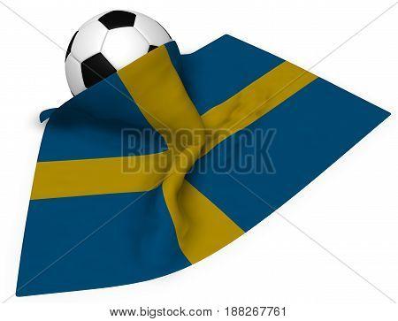 soccer ball and flag of sweden - 3d rendering