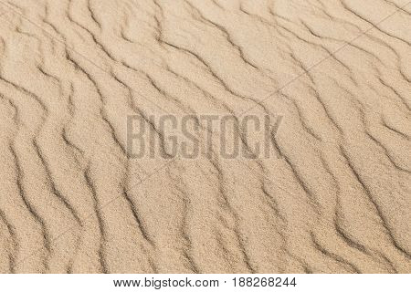 Ripples in the beach sand nature background.