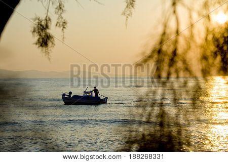 Boat at sea island Lesvos summer time