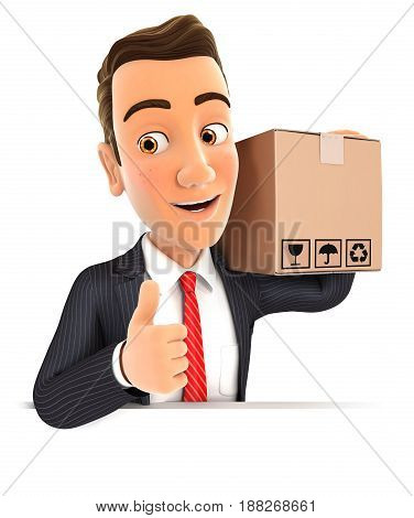 3d businessman carrying package with thumb up illustration with isolated white background