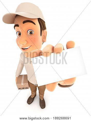 3d delivery man holding company card illustration with isolated white background