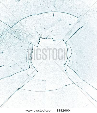 Bullet hole - shattered glass