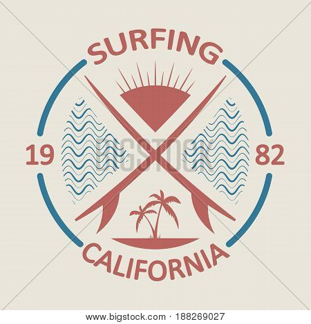 California sport surf typography, sports graphics for t-shirt, vector.