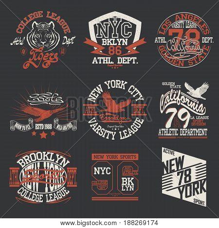 Sport Typography Graphics logo set, T-shirt Printing Design original wear, Vintage Print for sport swear apparel.