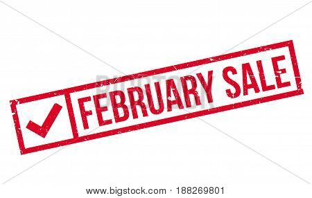 February Sale rubber stamp. Grunge design with dust scratches. Effects can be easily removed for a clean, crisp look. Color is easily changed.