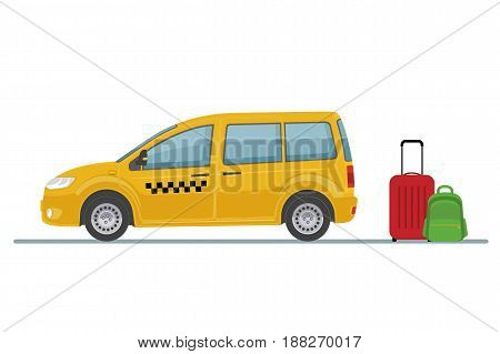 Taxi car and luggage isolated on white background. Flat style, vector illustration.