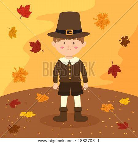 Thanksgiving Pilgrim Boy Cartoon Vector Illustration greeting card in autumn background.