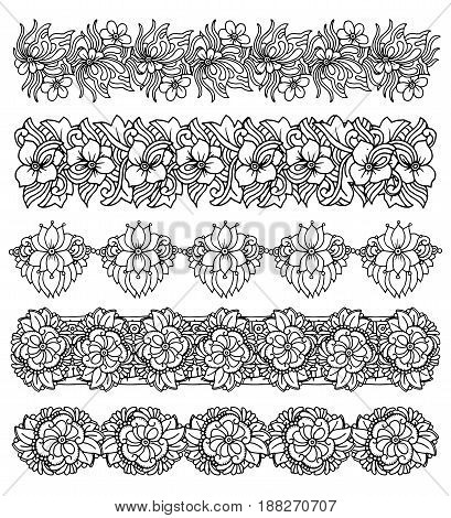 Brush border set with flower bouquet design, elegant print for fabric, wallpaper, gift wrap, vector handdrawn illustration isolated on white background