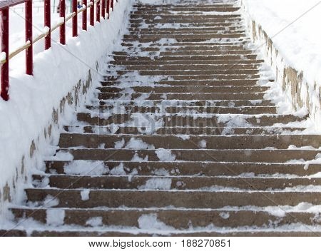 A Steps in the snow . A photo