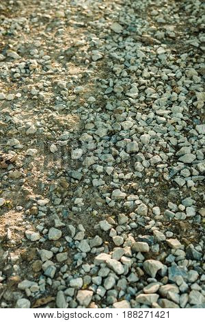 Background of the gravel mines of various shapes and colors. Gravel Path.
