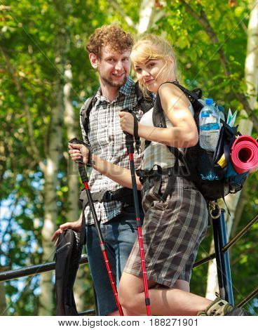 Two People Tourists Hiking Walking Outdoor.