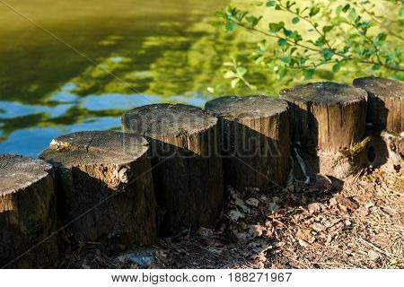 Old Wooden Columns On The River Bank.