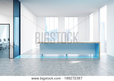 Blue reception counter is standing near tall windows in a white office lobby with transparent walls and doors. 3d rendering