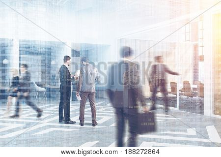 People near office cubicles in an office with wooden walls. There are blank vertical pictures a desk with a computer a chair and shelves. Side view. 3d rendering toned image double exposure