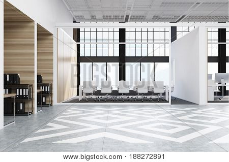 Office hall interior with diamond floor pattern wooden and white walls and loft windows. Conference room with a long white table and many chairs. 3d rendering