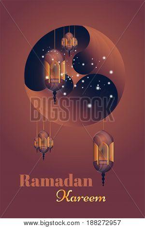 Ramadan Kareem greeting card. Beautiful glowing lamps on a background. Vector illustration EPS 10.