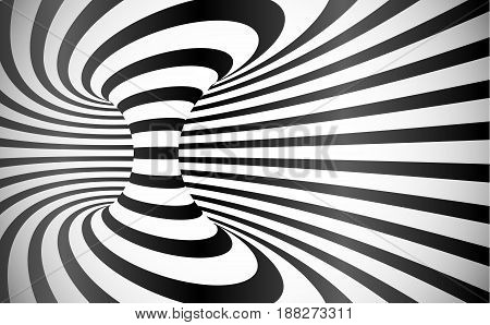 Vector curved stripes optical illusion black and white abstract background