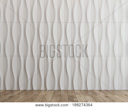 Empty room with abstract background pattern with white waves or vertical wavy lines forming a smooth oval like ornament. 3d rendering mock up