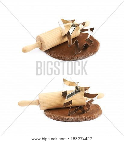 Rolled up thin layer of cookie dough with a wooden rolling pin and a cookie cutter over it, composition isolated over the white background, set of two different foreshortenings
