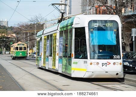 Melbourne, AUSTRALIA - August 22 2015: Melbourne Tram the iconic famous transportation in the town of Melbourne. You can see the new and old model of Melbourne tram in this picture.