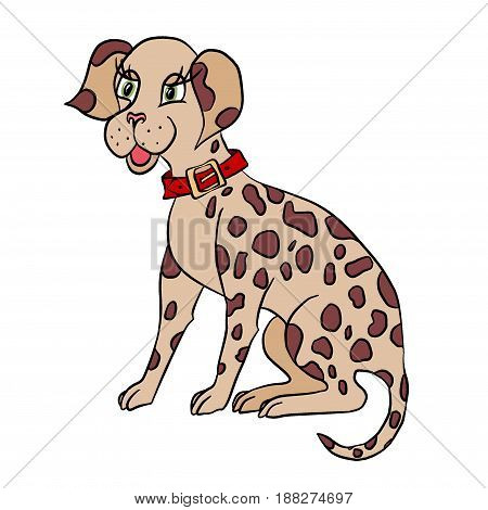 cartoon brown spotty dog in a red collar