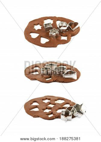 Rolled up thin layer of cookie dough with a pile of cookie cutters over it, composition isolated over the white background, set of three different foreshortenings