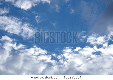 Beautiful celestial landscape with white clouds high in the stratosphere on a sunny summer day