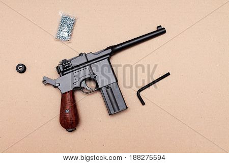 The Pistol Is In The Charged Position. Officer's Pistol. A Pistol With A Clip.