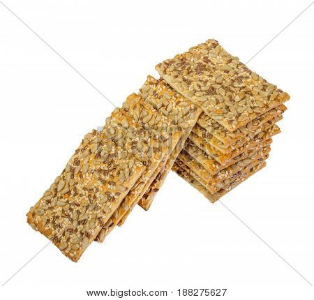 Crispy Bread With Seeds Of Sunflower, Flax And Sesame Seeds Isolated