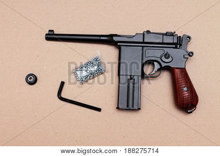 Officer's Pistol. A Pistol With A Clip. Vintage Pistol. Back Side.