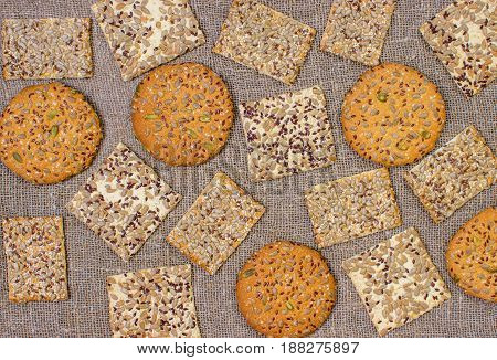 Rows Of Various Shortbread And Oat Cookies.