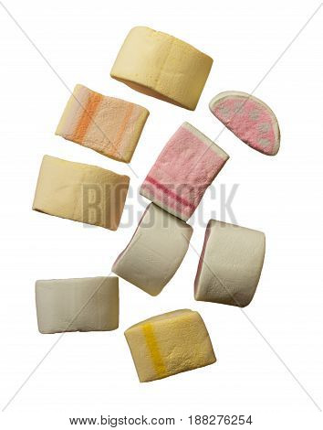 Colorful Marshmallows Candy Isolated.