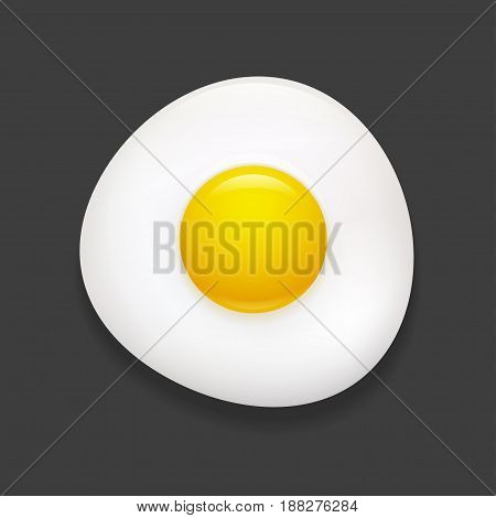 Realistic sunny side up fried egg icon. Vector clip art illustration.