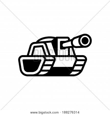 Stylized cartoon tank logo or icon. Isolated black and white army vehicle vector illustration.
