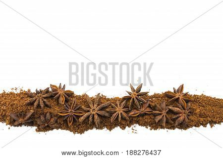 Star Anise in Row on Isolated White Background