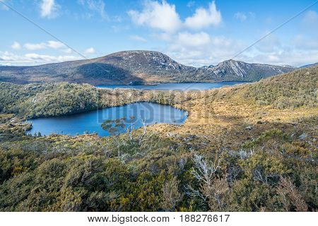 The scenery view of Lake Lila and Dove Lake view from the top of Wombat peak in Cradle mountain of Tasmania, Australia.