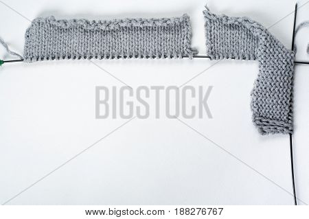Knitted sweaters with knitting needles and wool, hendmade
