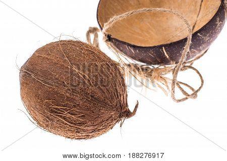 Whole coconut isolated on white background. Studio Photo