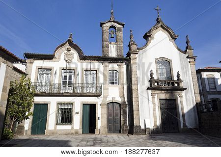 PONTE DA BARCA, PORTUGAL - OCTOBER 8, 2016: Rococo facade of the Igreja da Misericordia (Mercy Church) in Ponte da Barca Portugal