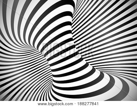 Black and white round stripes optical illusion abstract vector background