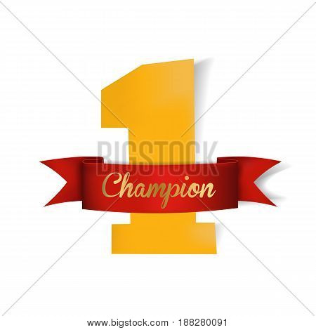 yellow number one. champion red ribbon.vector illustration