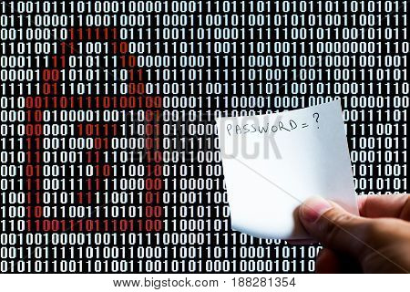 Hand Holding A Paper In Front Of A Locked Binary Code