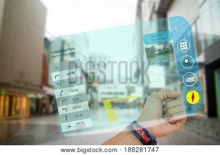 iot internet of thingsconcept man use smart watch with augmented reality technology to search the way to last destinations application show the detail and picture of destinations while travel